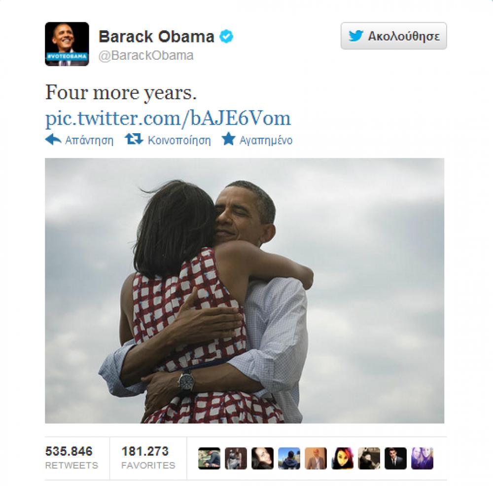 Νίκη και στο Twitter από τον Ομπάμα