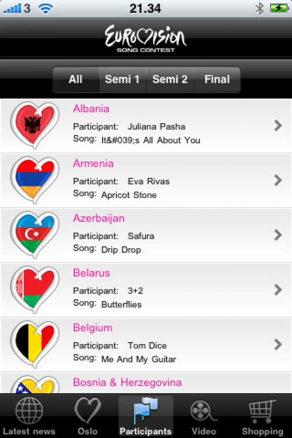 Eurovision iPhone app