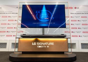 Πρώτη παρουσίαση της τηλεόρασης LG Signature OLED TV W7 65' από τα καταστήματα Κωτσόβολος